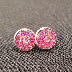 12mm Round Druzy Earrings